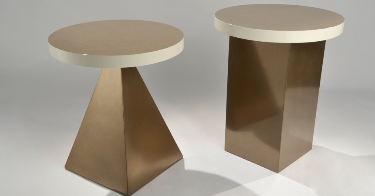 Lacquered linen tops with polished bronze base, from Costello & Welch