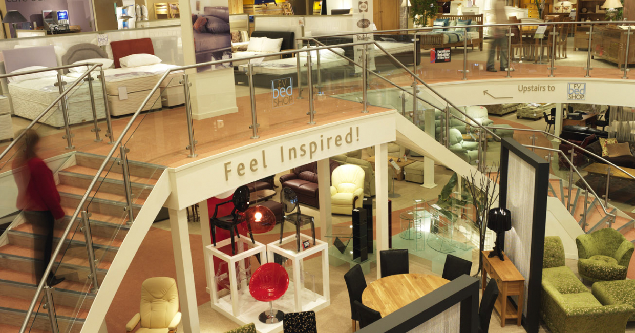 Most Furniture Village stores stick to a proven model – living room downstairs, and beds up