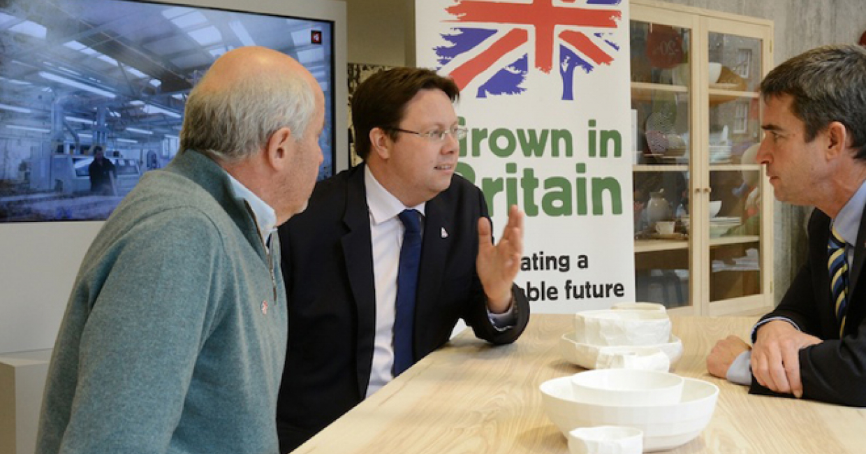 Will Hobhouse, Dan Rogerson, MP Parliamentary Under Secretary, Dr Peter Bonfield, Chairman of Grown in Britain