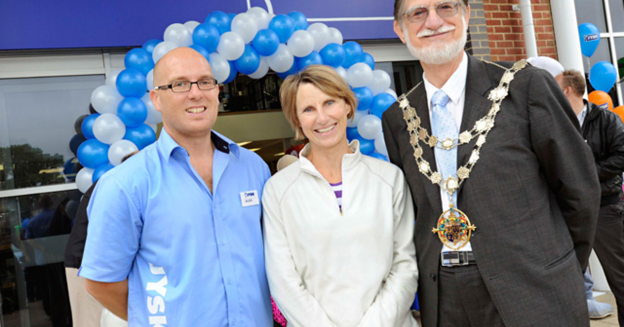 JYSK store manager Alex Hunt, ex-pat Dane Bryn Nyman and the Mayor of Bournemouth