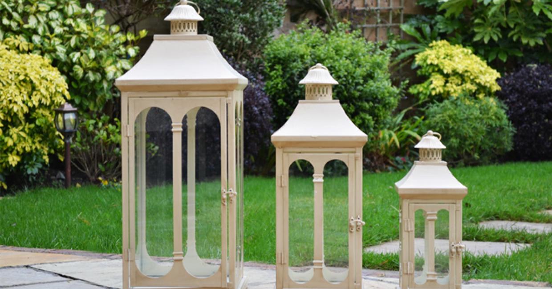 Three-piece metal lantern set, available in antique cream and black, Allison Garden Land