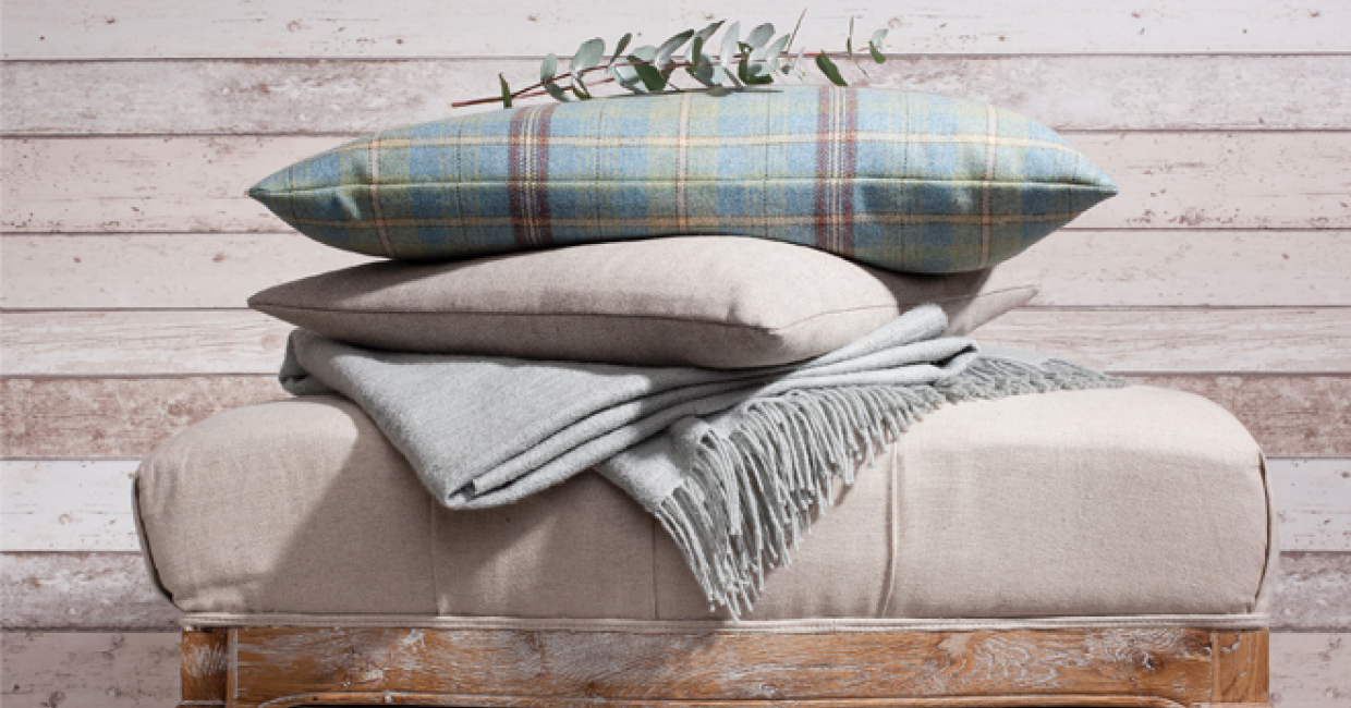 Catkin Plaid cushion, Sienna Twill cushion and Pebble throw with Colby footstool, Gallery Direct