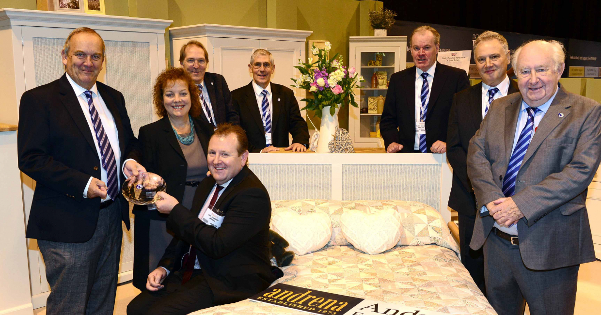 The show's best-dressed stand accolade went to Andrena Furniture. Pictured are Martin Lukehurst and the Minerva board presenting Gary and Suzanne Anderson with their prize