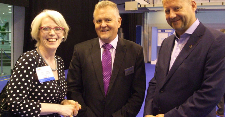 Jessica with NBF president Stuart Hibbert, and former president Simon Spinks
