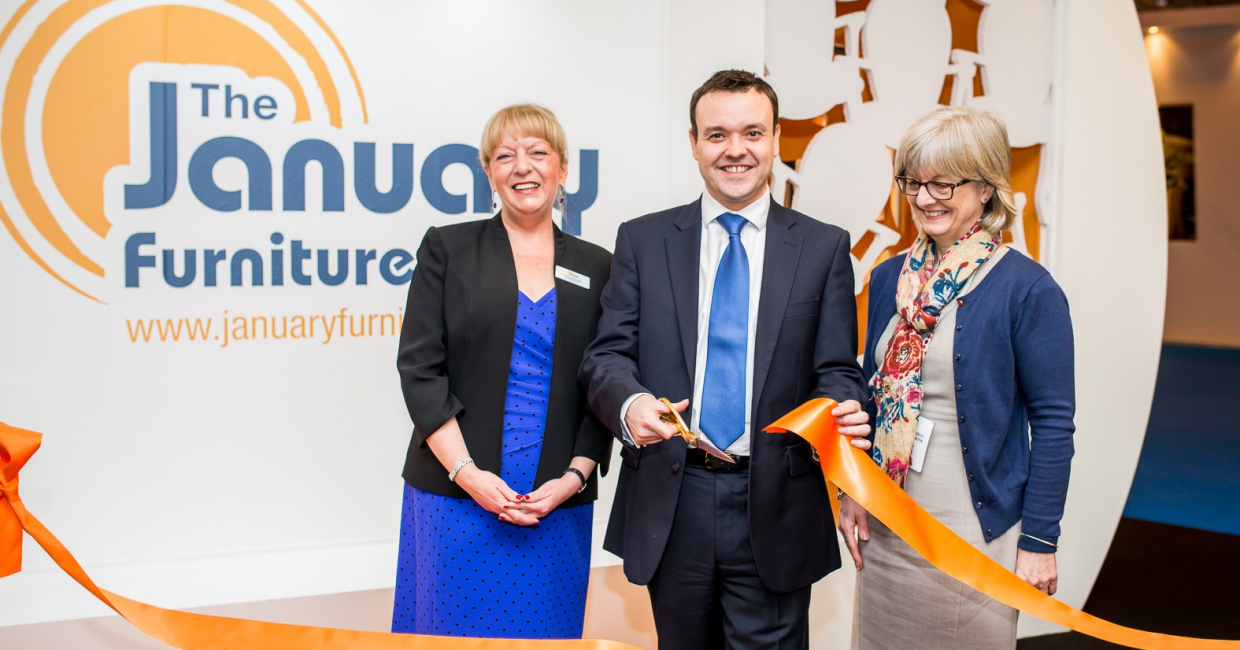 L to r: show director Theresa Raymond, Stevenage MP Stephen McPartland and BFM MD Jackie Bazeley open The January Furniture Show
