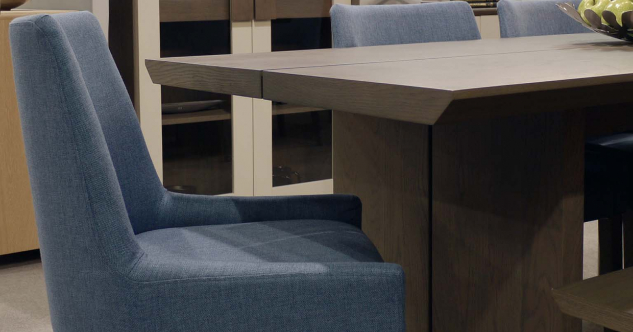 This steel blue scoop-back chair is just one of the six seating options available