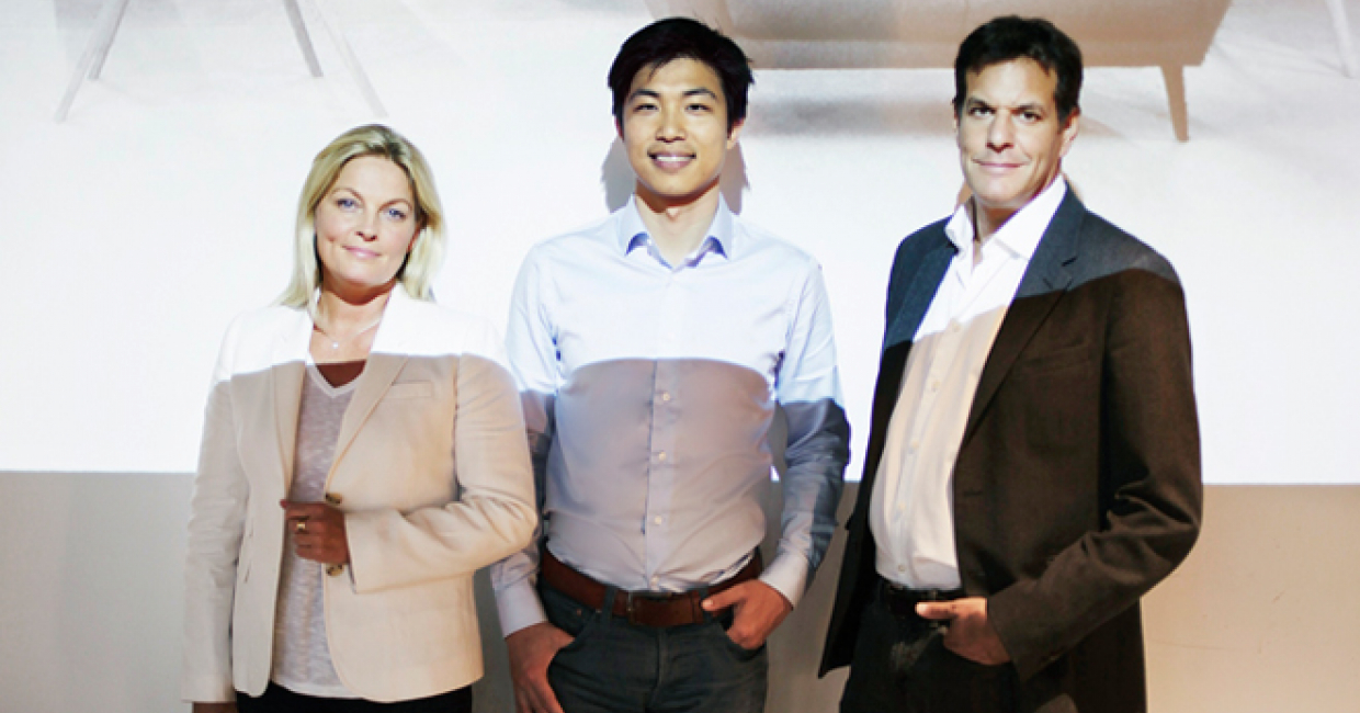 Susanne Given with Made.com's CEO and founder, Ning Li, and Brent Hoberman, chairman