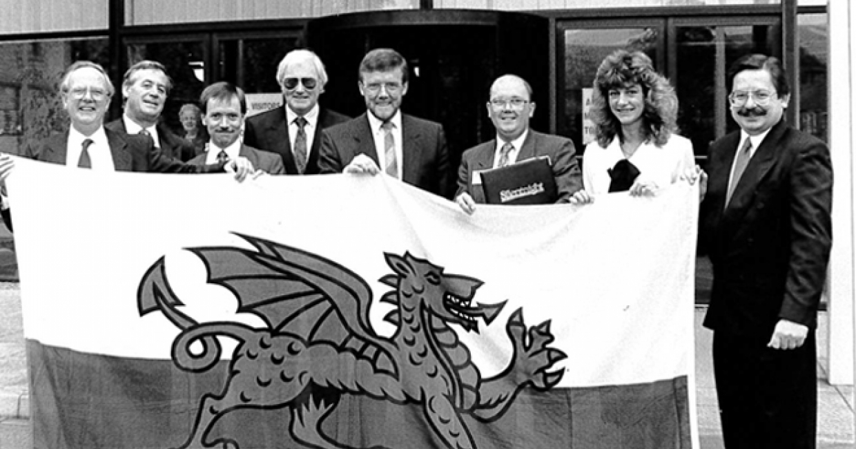 Gwynne Powell, pictured second from left with former colleagues and customers from Wales at the former Silentnight Group headquarters in Salterforth
