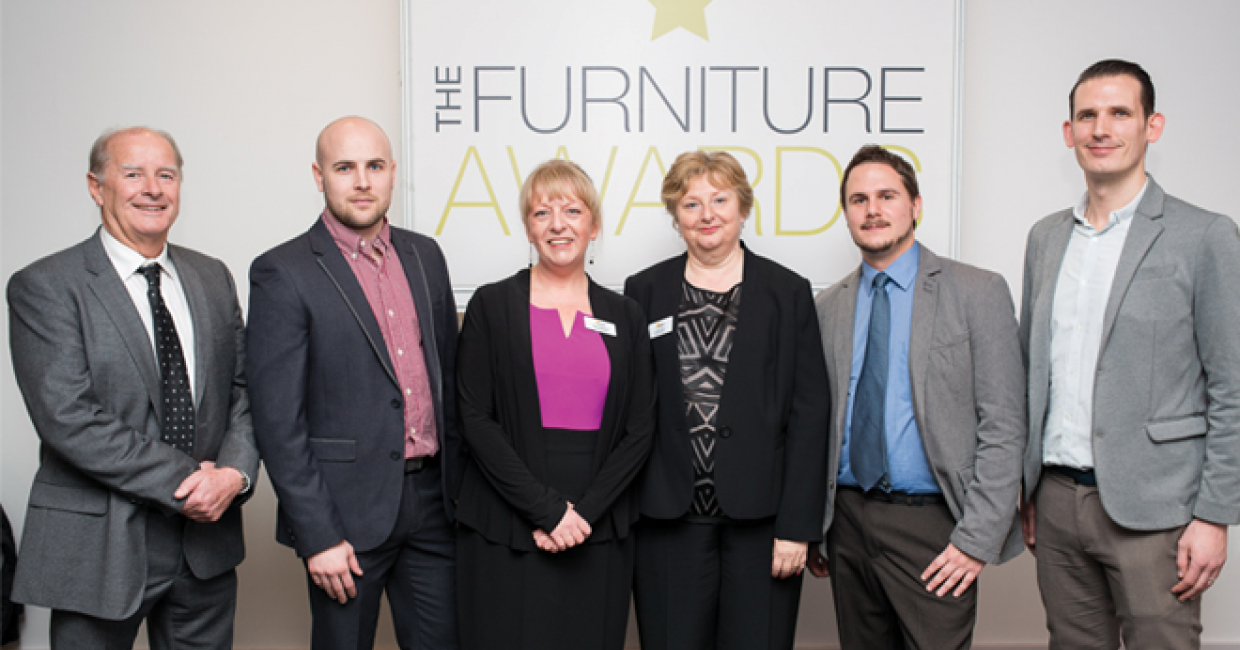 The Furniture Awards team of 2015: John Shotton; Tristan Lynch; event organisers Theresa Raymond and Laraine Janes; Paul Farley; and Rob Scarlett