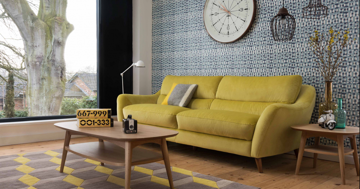 A retro look with geometric rug, from an on-location shoot at Arighi Bianchi