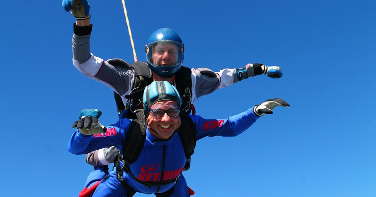 Darren Marcangelo on his tandem jump