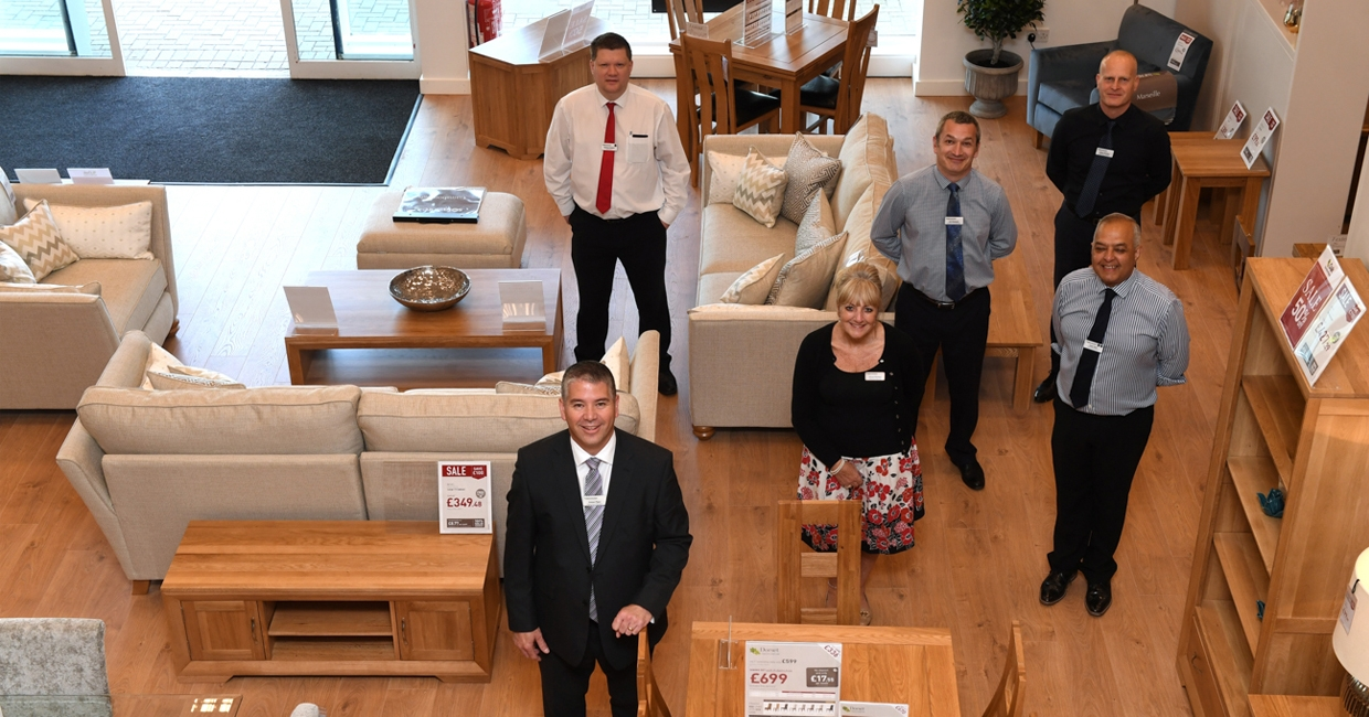 Oak Furniture Land Milton Keynes' store manager Simon Piper and the store team