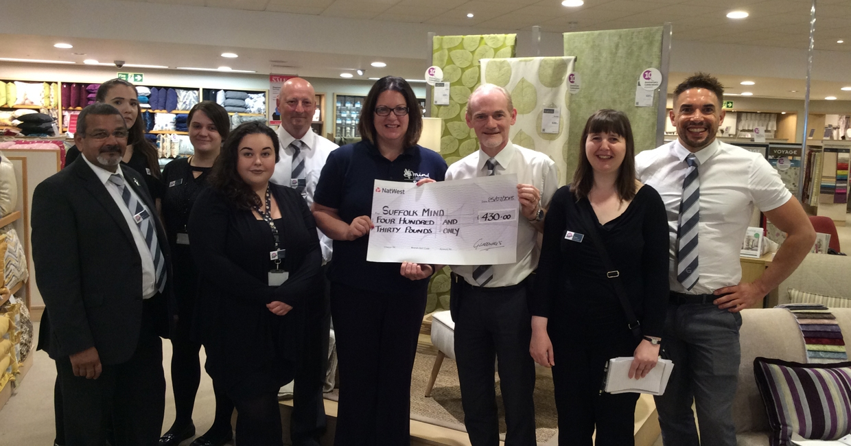 Glasswells Ipswich presents Suffolk Mind with its donation