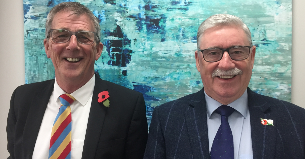 Gary Lasham and Steve Hampton at Belfield's Ilkeston headquarters, November 2018