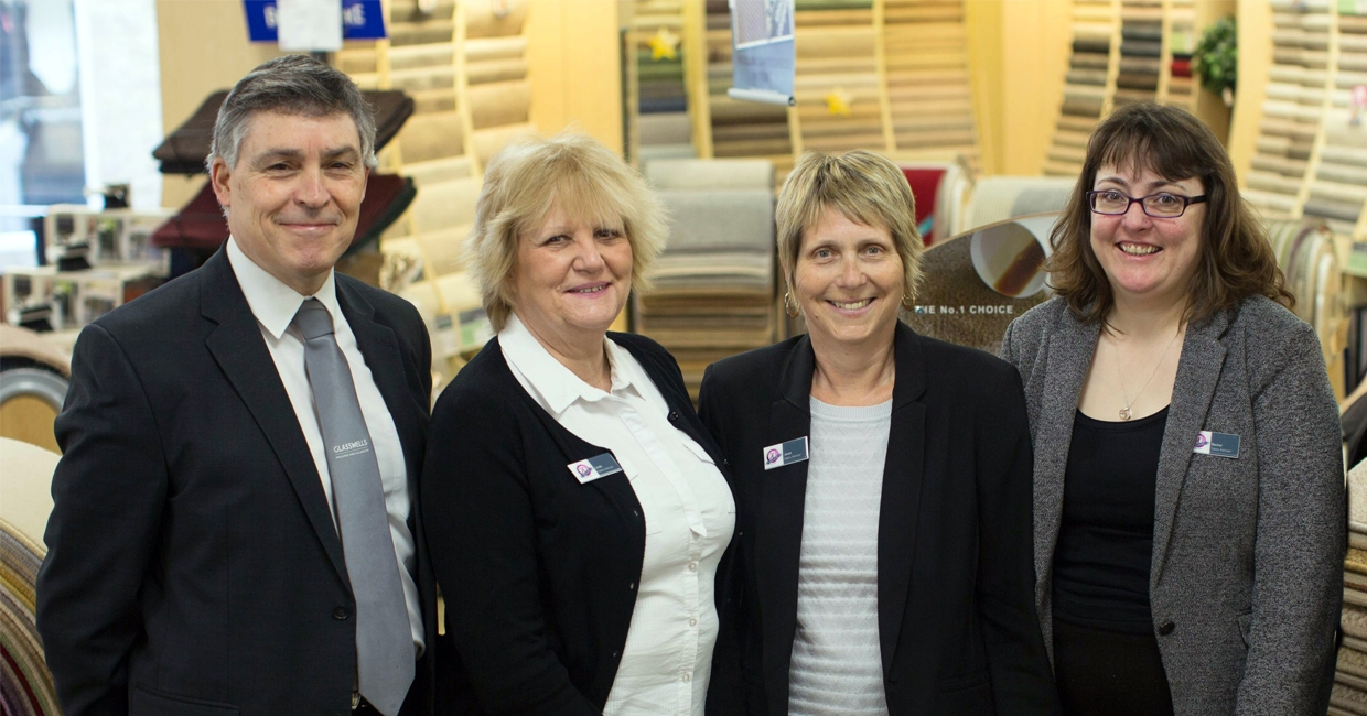 Gary King and some of his team at Glasswells, Haverhill