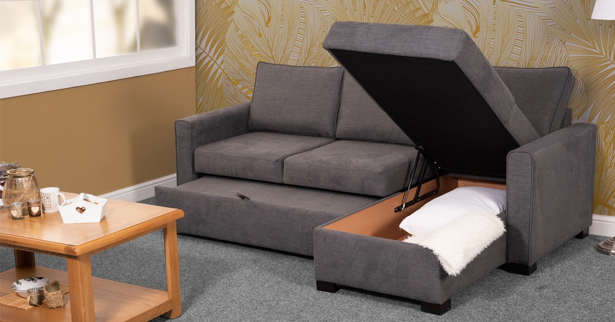 Dusk, one of Sweet Dreams' popular sofabeds, with chaise and storage
