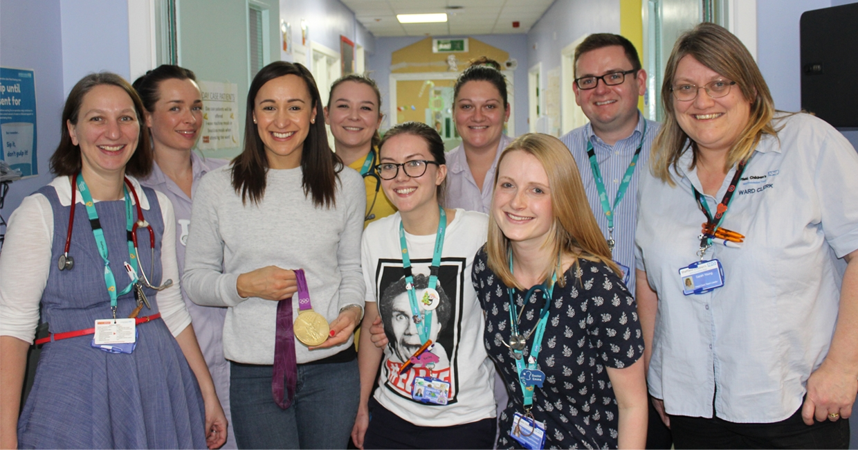 Jessica Ennis-Hill meeting staff at Sheffield's The Children's Hospital Charity