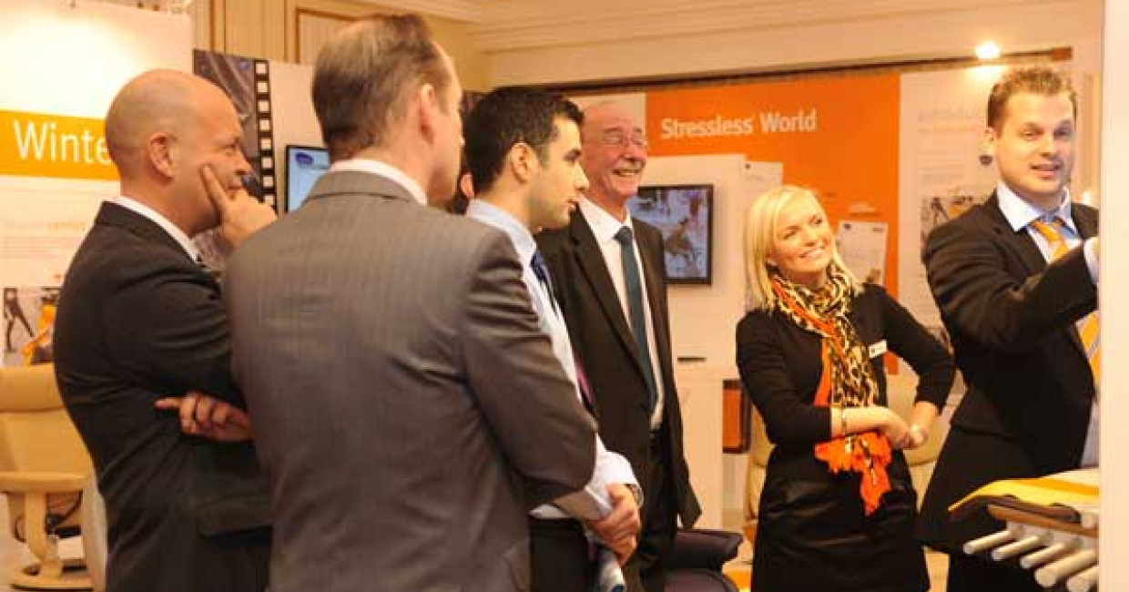 Stockists, with Anna-Marie Warren, second from right, see the Stressless World CRM in action