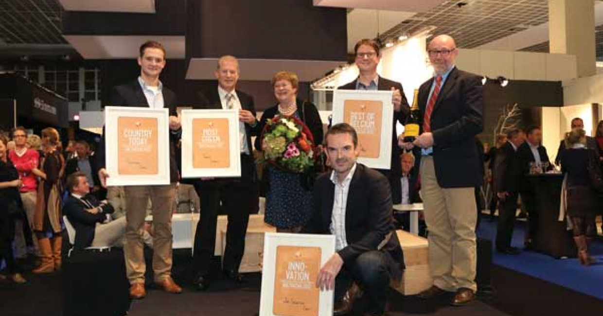 Balthazar award winners with chief event organiser, Els Van Pelt