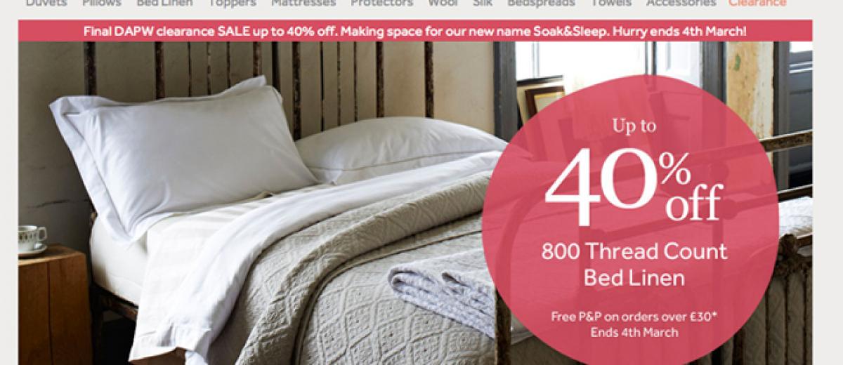 duvet pillow warehouse to rebrand to soak sleep. Black Bedroom Furniture Sets. Home Design Ideas