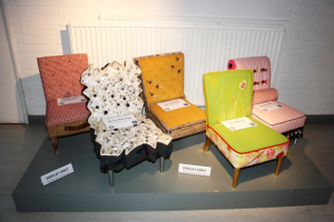 Upholstered miniature chairs on show at FIRA HQ