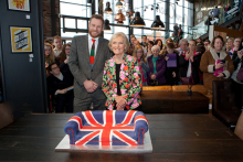 Mary Berry cuts the cake as shoppers flock to Teesside's iconic new store